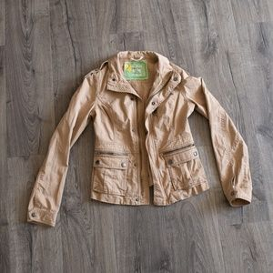 Free PeopleTan Utility jacket 2 zipper front